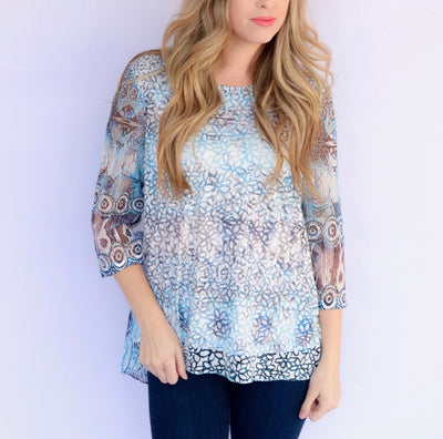 Adore Apparel 3/4 Sleeve Floral Top with Overlay - Blue/Multi