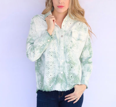 Adore Apparel Tie-Dye Denim Jacket - Green/Multi