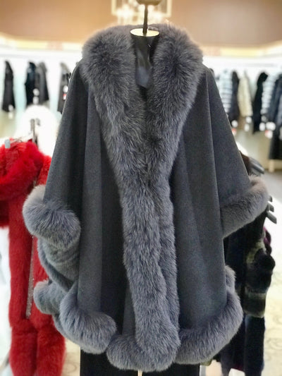 Long Cashmere Cape with Fox Fur Trim - Charcoal Compare At: $2400