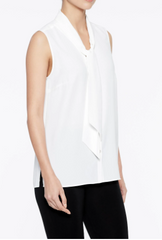 Ming Wang Drape Tie-Neck Crepe de Chine Blouse - White