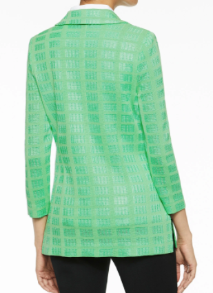 Ming Wang Two-Button Textured Knit Jacket - Springview Green
