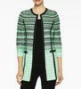 Image of Ming Wang Textured Gradient Knit Jacket - Springview Green/Black