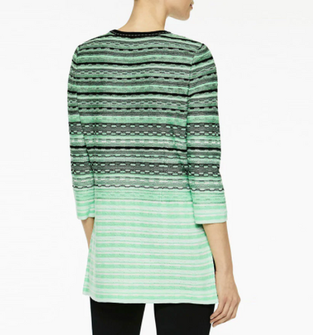 Ming Wang Textured Gradient Knit Jacket - Springview Green/Black