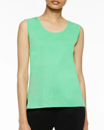 Ming Wang Mid-Length Scoop Neck Knit Tank - Springview Green