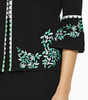Image of Ming Wang Embroidered Trim Bell Sleeve Knit Jacket - Black/White/Springview Green
