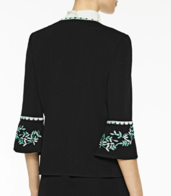 Ming Wang Embroidered Trim Bell Sleeve Knit Jacket - Black/White/Springview Green