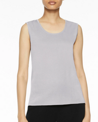 Ming Wang Mid-Length Scoop Neck Knit Tank - Sterling Grey
