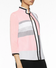Ming Wang Colorblock Knit Jacket - Ballet Pink/Sterling Grey/Black/White