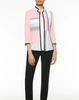 Image of Ming Wang Colorblock Knit Jacket - Ballet Pink/Sterling Grey/Black/White