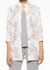 Image of Ming Wang Floral Embroidered Sheer Woven Jacket - Ballet Pink/Sterling Grey/White