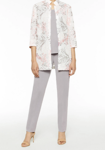 Ming Wang Floral Embroidered Sheer Woven Jacket - Ballet Pink/Sterling Grey/White