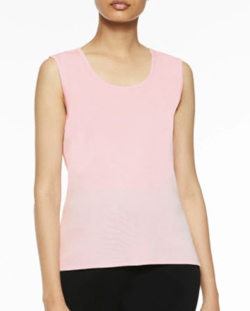 Ming Wang Mid-Length Scoop Neck Knit Tank - Ballet Pink