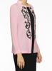 Image of Ming Wang Filigree Embroidered Knit Jacket - Ballet Pink/Black