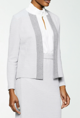 Ming Wang Two-Tone Subtle Check Knit Jacket - Sterling Grey/White