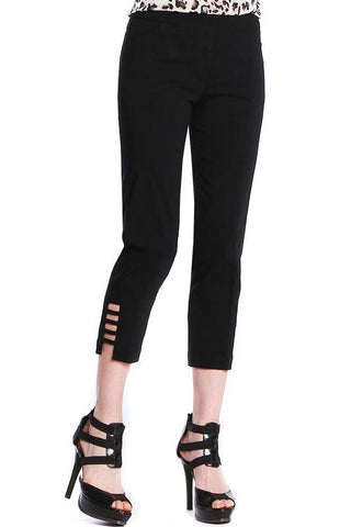 Slimsations by Multiples Crop Pant with Lattice Ankle Detail - Black