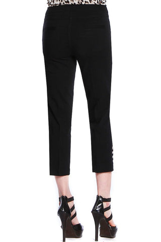 Slimsations Plus by Multiples Crop Pant with Lattice Ankle Detail - Black