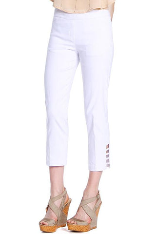 Slimsations by Multiples Crop Pant with Lattice Ankle Detail - White