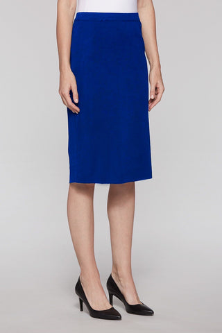 Ming Wang Below the Knee Straight Skirt - Majestic Blue