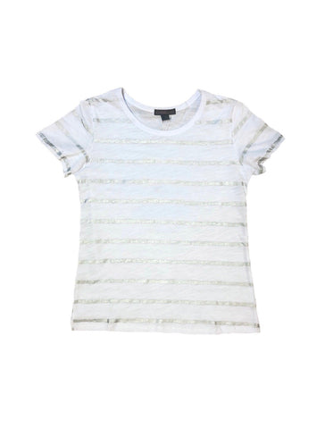 Metric Knits Foil Stripe Short Sleeve Cotton Tee - White/Silver