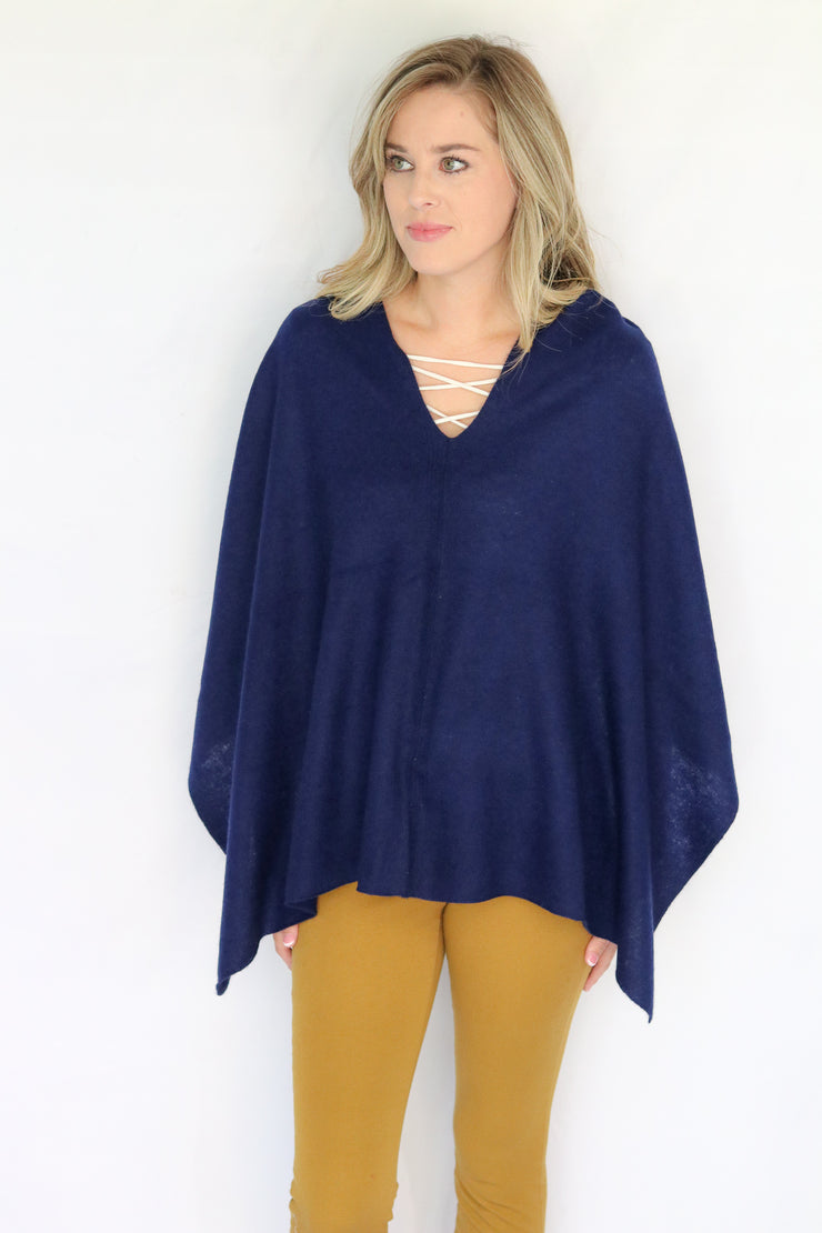 Pure Cashmere Poncho - Navy
