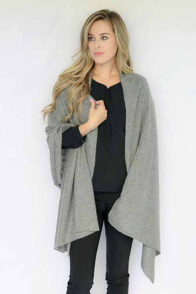 Pure Cashmere Wrap - Heather Gray