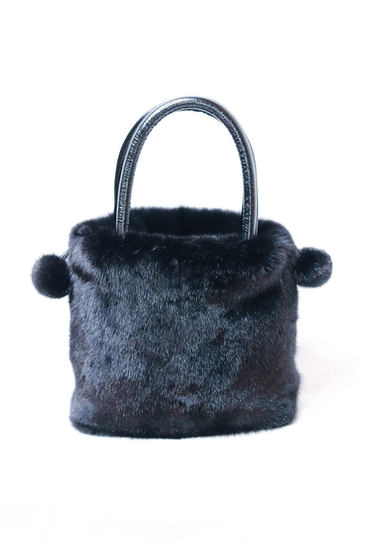 Mink Fur Bucket Bag with Pom Pom Drawstrings - Black