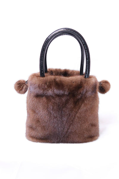 Mink Fur Bucket Bag with Pom Pom Drawstrings - Brown