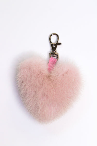 Mink Fur Heart-Shaped Keychain - Pink