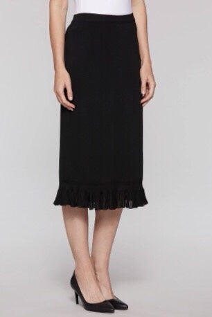Ming Wang Ruffle Hem Knit Midi Skirt - Black