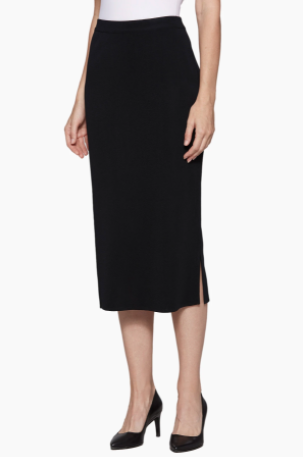 Ming Wang Straight Knit Midi Skirt - Black