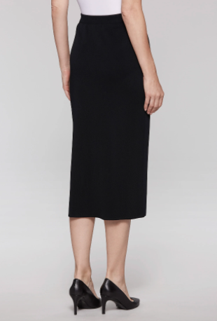 Ming Wang Plus Size Straight Knit Midi Skirt - Black