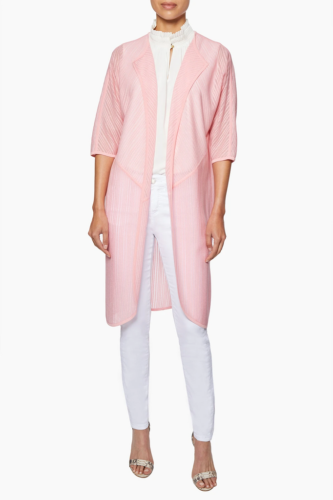 Ming Wang Sheer Diagonal Stripe Knit Duster - Pink Rose