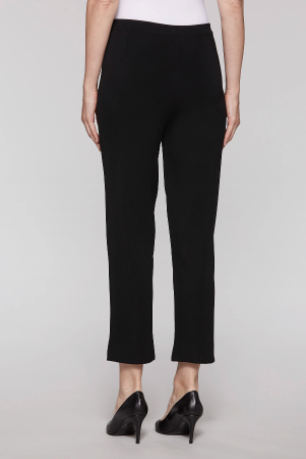 Ming Wang Plus Size Straight Leg Knit Ankle Pant - Black