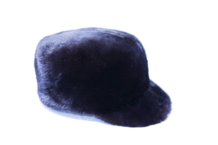 Mink Fur Newsboy Hat - Black