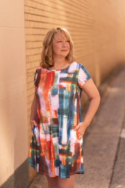 Pure Essence Short Sleeve Brushstroke Print Tunic Dress with Pockets - Sahara Sunset
