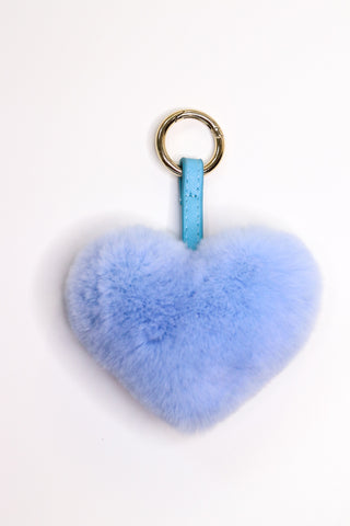 Rex Rabbit Fur Heart-Shaped Keychain - Blue