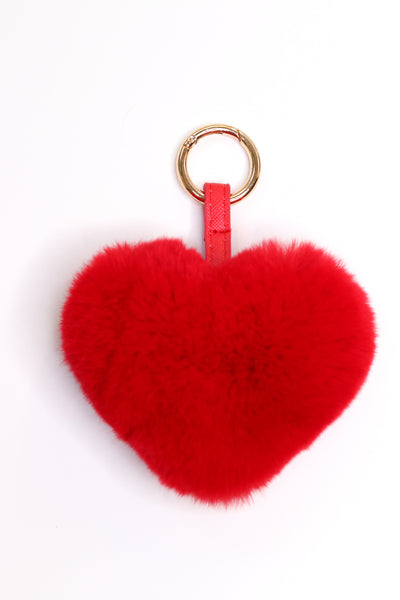 Rex Rabbit Fur Heart-Shaped Keychain - Red
