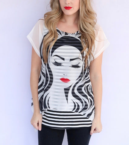 "Radzoli ""Lipstick"" Overlay Top - Black/White"