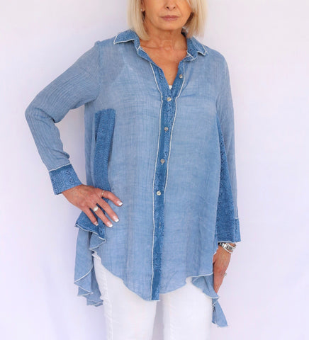Radzoli Denim Mixed Media Blouse - Blue