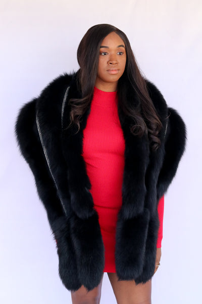 Fox Fur Stole with Rhinestone Trim - Black Compare At: $1150