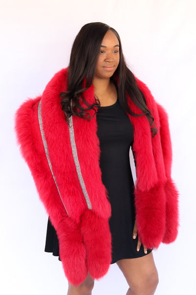 Fox Fur Stole with Rhinestone Trim - Red Compare At: $1150