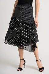 Joseph Ribkoff Tiered Polka Dot Midi Skirt - Black/White