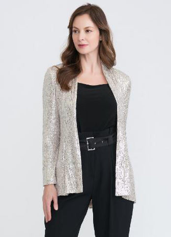 Joseph Ribkoff Open-Front Sequin Jacket - Silver/Nude