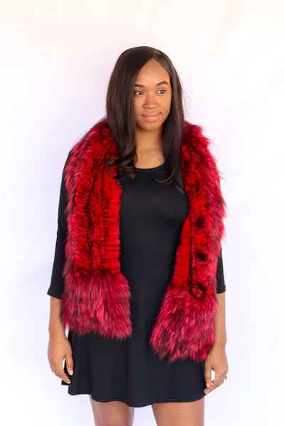 Knitted Chinchilla & Fox Fur Scarf with Pockets - Red Compare At: $900