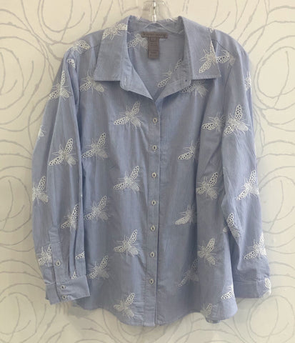 Sharon Young Bee Embroidery Novelty Blouse - Blue/White