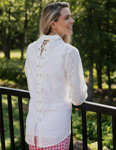 Sharon Young Eyelet Lace-Back Blouse - White
