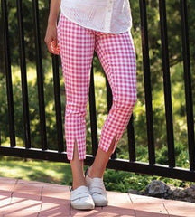 Sharon Young FitFabulous Split-Front Gingham Crop Pant - Pink/White