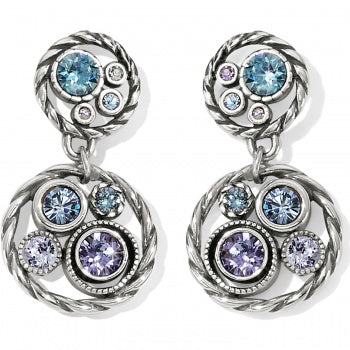 Brighton Halo Post Drop Earrings - Silver/Tanzanite