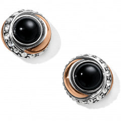 Neptune's Rings Black Agate Button Earrings - Black