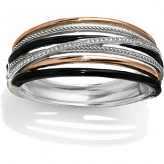 Neptune's Rings Black Hinged Bangle - Silver/Gold